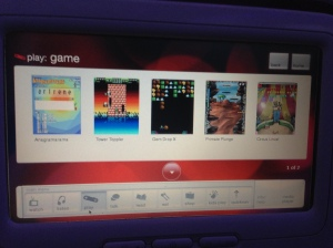 Pantalla en asiento de Virgin Airlines